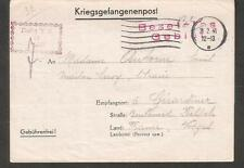 1941 WWII POW censor letter cover camp Stalag X B to Gerardmer Vosges France
