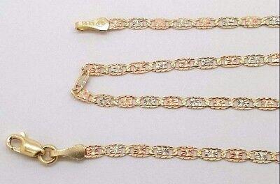 Precious Stars 14k Tri-tone Gold 2.1-mm Valentino Chain Necklace