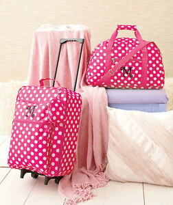 b3a4e3a2799 3 Pc Girls Kids LUGGAGE MONOGRAM ROLLING SUITCASE DUFFEL BAG CLUTCH ...