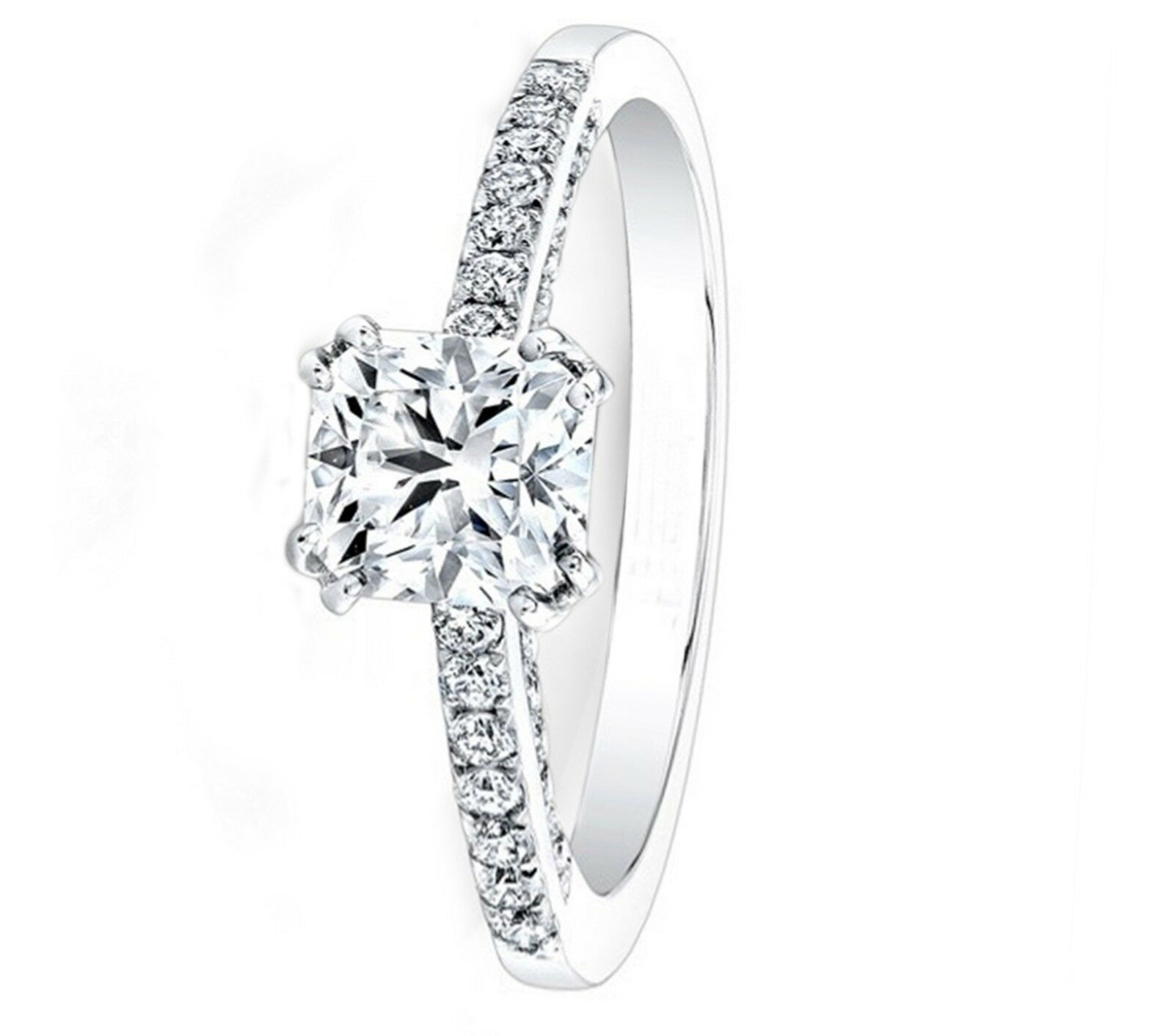0.81 Ct Cushion Cut Diamond Engagement Ring 14K Real White gold Rings Size 6 7 8