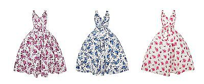 Ladies Retro Vintage 1950's Rockabilly Swing Pin Up Prom Floral Dress 10 - 18
