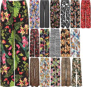 New-Plus-Size-Womens-Floral-Print-Ladies-Wide-Leg-Palazzo-Trousers-Pants-16-26