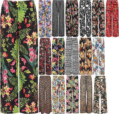 New Plus Size Womens Floral Print Ladies Wide Leg Palazzo Trousers Pants 16 - 26