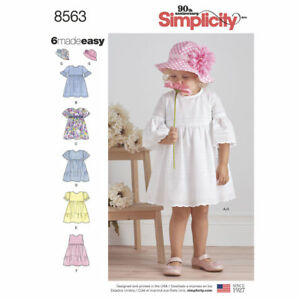 Details about Simplicity Easy SEWING PATTERN 8563 Toddlers Dresses & Hat  1/2-4