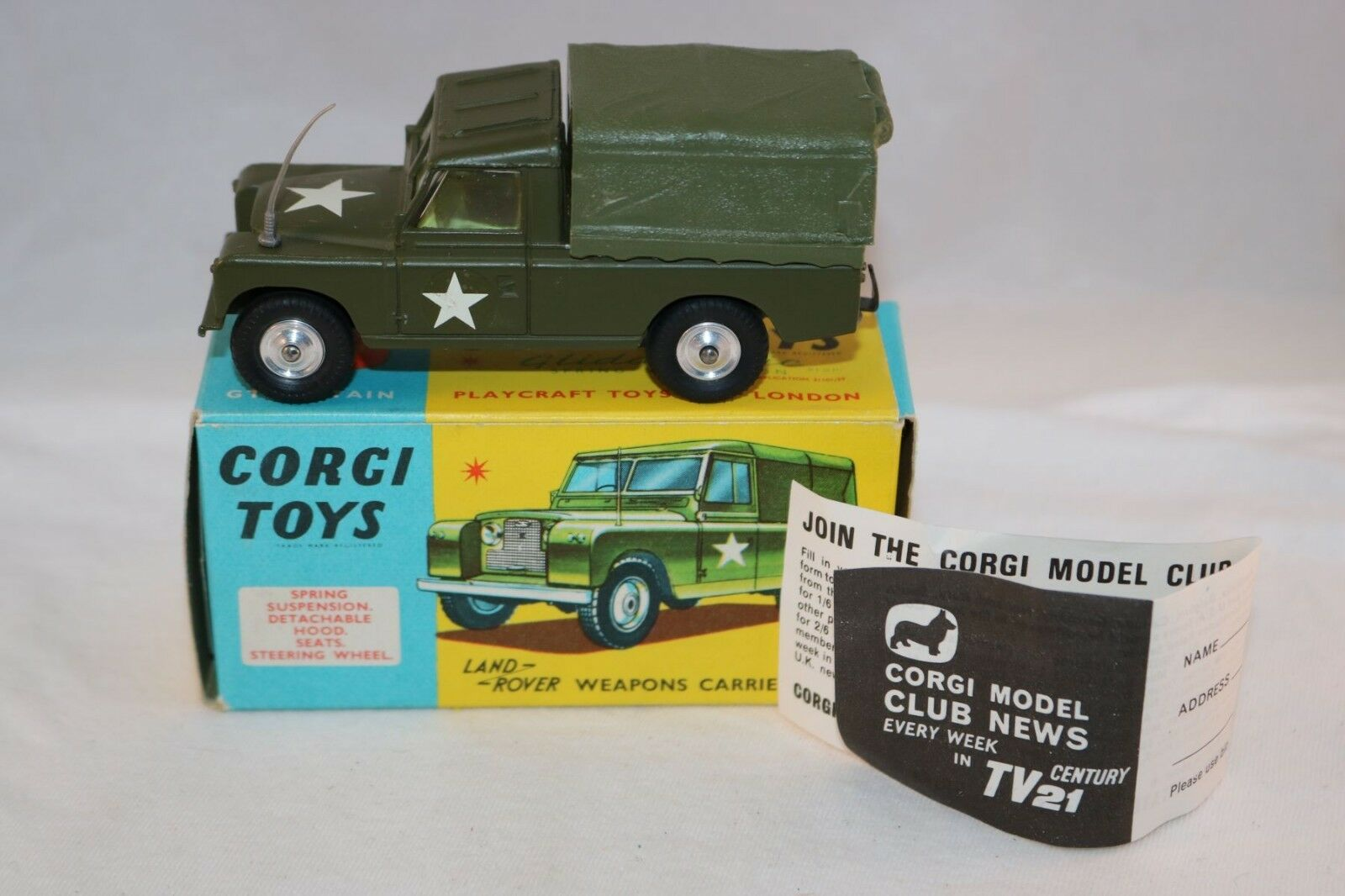 Corgi Toys 357 Land Rover Weapons Carrier perfect mint in box Superb
