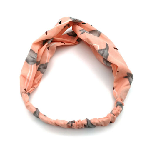 Ladies twist knot bird pattern headband elastic head wrap turban hair band