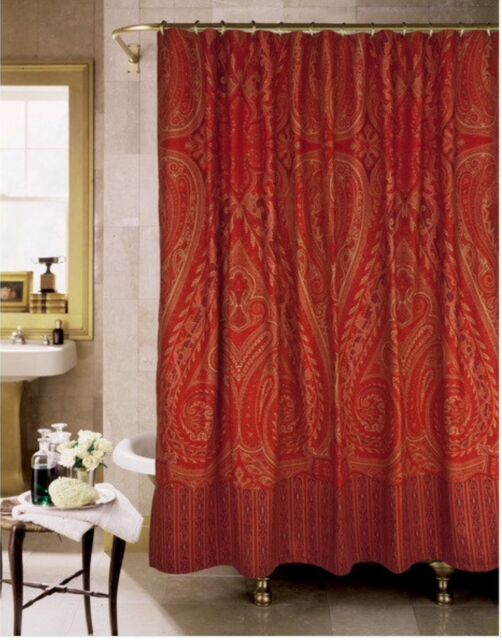 Beau NEW Paisley Alexandria Shower Curtain By Rose Tree Burgundy Spice Paisley