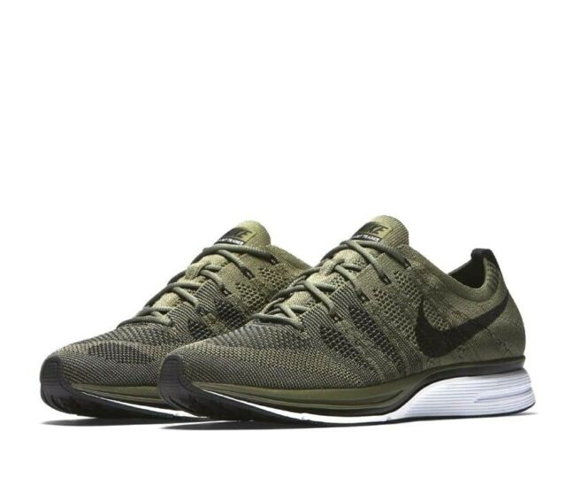 2b6e48bb7812 Men s Nike Flyknit Trainer Running Shoes Medium Olive black Ah8396 ...