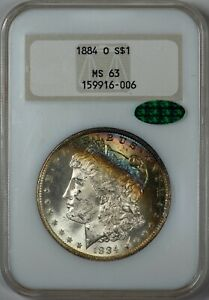 1884-O-Morgan-NGC-MS-63-CAC-Rainbow-Crescent-Toned-Silver-Dollar-in-Old-Holder