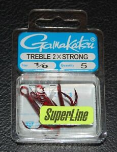 5-Pack-Gamakatsu-57311-Superline-2x-Red-Round-Bend-Treble-Hooks-Size-1-0