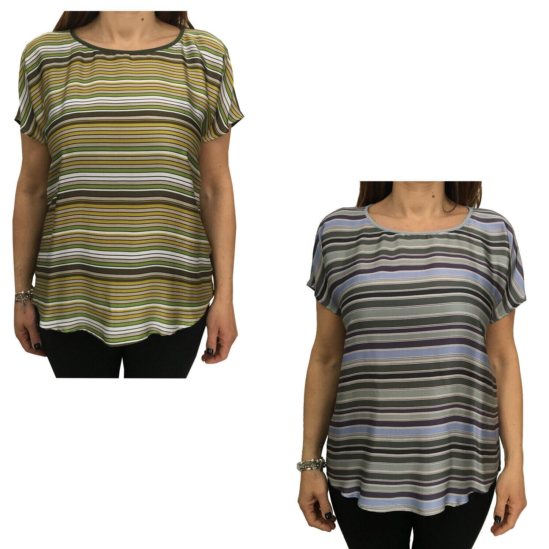 T-Shirt Kurzarm Elena Miro Gestreift aus Stoff und Jersey Länge 64