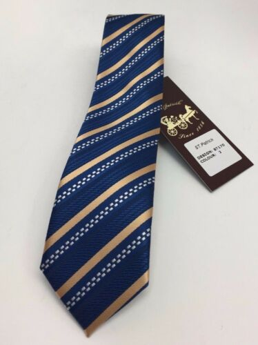 St Patrick Men/'s Skinny Tie Navy White /& Beige 100/% Microfiber Striped Design