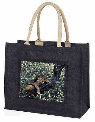 Löwin im Baum große schwarze Einkaufstasche Weihnachten Geschenkidee, at-27blb