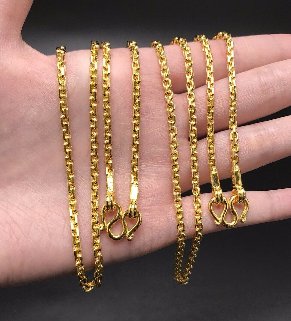 """9999 24k Solid gold All Links Anchor Chain 37.5 Gram 24"""" 2.8mm"""