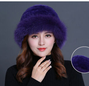 81f40ee9c42 Purple Women Winter Hat Real Rex Rabbit Fur Hat with Fox Fur Brim ...