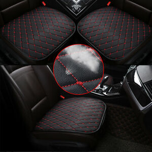 Universal-Car-Accessories-Chair-Seat-Cover-Front-Cushion-Black-PU-Red-Line-New