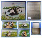 Scatola grande in latta vintage cucciolo di panda famiglia colomba Battistero
