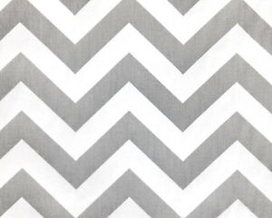 Drapery Upholstery Fabric 100 Cotton Twill Chevron Gray And White