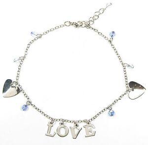Das Beste Neu 22cm+3cm Fußkettchen Herz Schriftzug Love Silber Perlen Blau Fusskettchen Geeignet FüR MäNner, Frauen Und Kinder