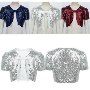 Kids-Girls-Sequined-Cropped-Bolero-Cardigan-Shrug-Cardigan-Tops-Party-Outwear