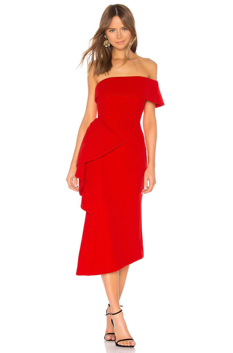 ELLIATT HYDRANGEA  FIT AND FLARE ASYMMETRICAL DRESS RED - SIZE LARGE - NWT