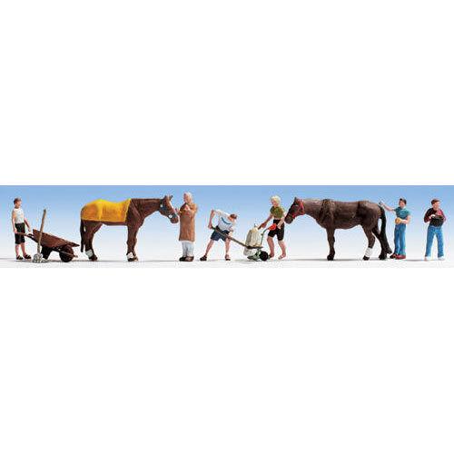 /& Accessories Figure Set HO Gauge Scenics 15634 NOCH Stable Hands 6 2 Horses