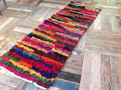 ❤️Multi Colour Shaggy Rag Rug 60cm x 200cm Bright Tufted Recycled Chindi Mat