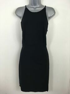 WOMENS-FRENCH-CONNECTION-BLACK-SLEEVELESS-ZIP-BACK-FITTED-BODYCON-DRESS-UK-12