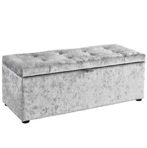 Image Is Loading Ottoman Storage Box Footstool Silver Crushed Velvet Fabric