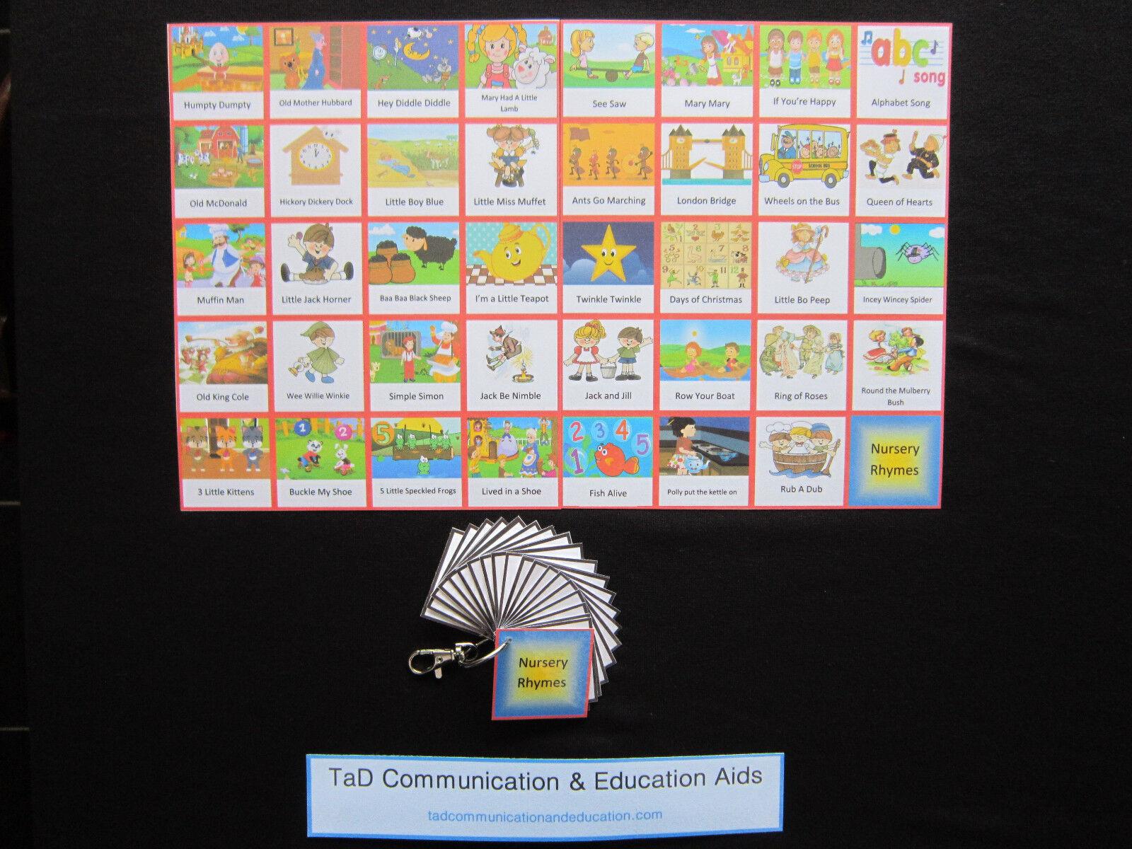 Nursery Rhymes & Songs Cards  Autism ADHD Visual Communication Aids PECS SEN