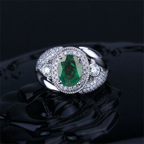 1.75 Carat 14KT White gold Natural Green Emerald EGL Certified Diamond Ring