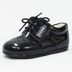 fa8e2fd56dbf Baby Boys Early Steps Black Patent Brogues Lace Up Formal Page Boy ...