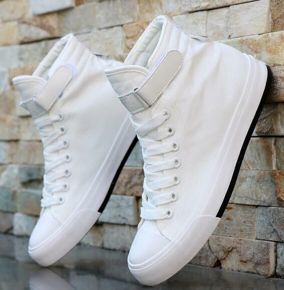 Mens Canvas High Top Lace Up White Sneakers Casual Trainers Athletic shoes E860