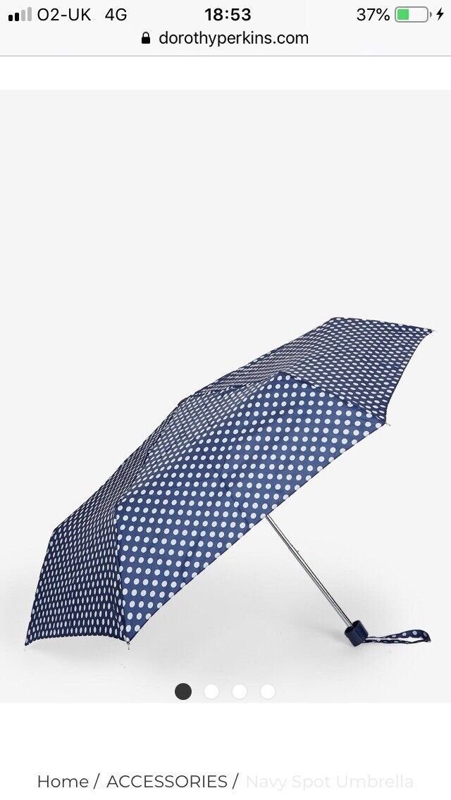 Dorothy Perkins Navy And White Spotted Umbrella