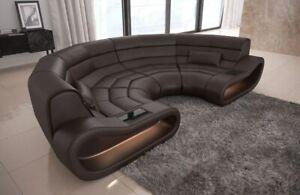 Details Zu Sofa Leder Wohnlandschaft Couch Concept U Form Designersofa Ledersofa Braun Led