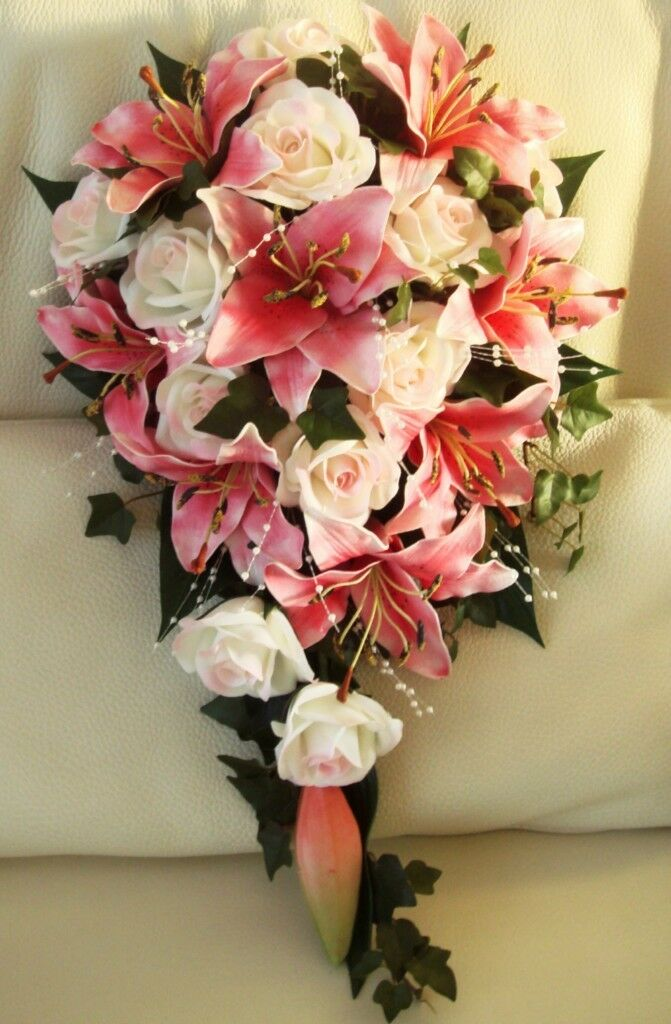 Mariage bouquet de fleurs, Real Touch Lily, roses, perles