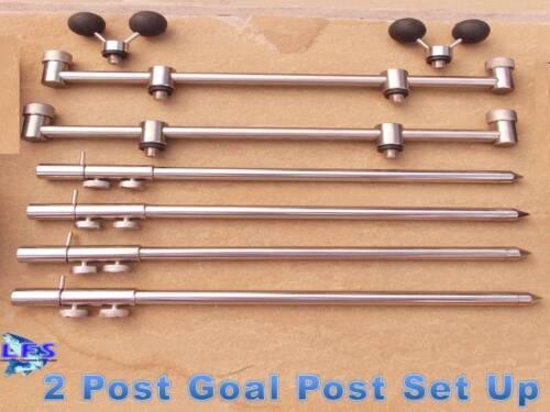 2 Goal Post Buzz Bars 2 Rod Set 4 Stainless Steel Banksticks Fishing 2 Balls