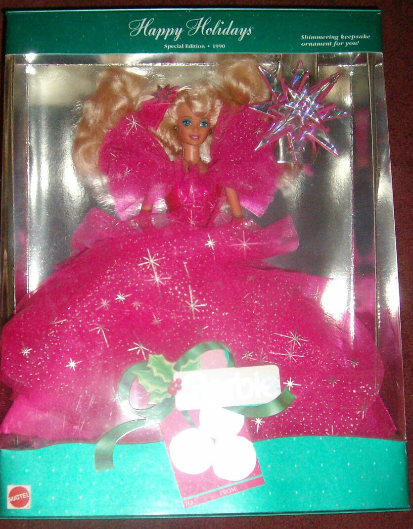 1990 felices fiestas MIB de Barbie en caja original