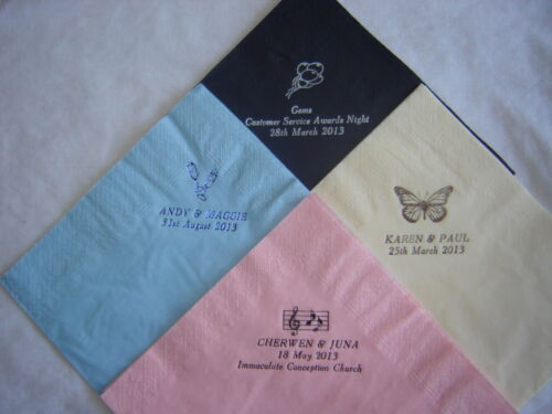 Personalised Paper Printed Napkins 50 QUALITY  3PLY  DINNER SIZE 39cm