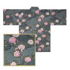 "JAPANESE 34.5""L KIMONO HAPPI COAT ROBE YUKATA SAKURA SHIBORI BLACK MADE JAPAN"