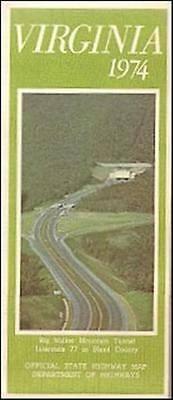1974 VIRGINIA Official State Highway Road Map Richmond Lynchburg Alexandria I-77