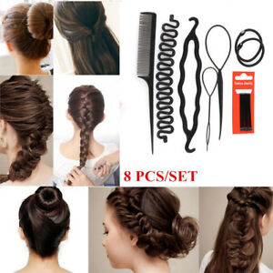 8-Pcs-Set-Styling-Clip-Bun-Maker-Hair-Twist-Braid-Ponytail-Hair-Accessories-New