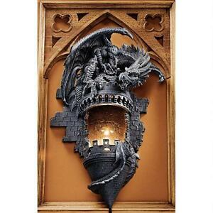 Dragon-039-s-Castle-Lair-Illuminated-Graystone-Finish-Design-Toscano-Wall-Sconce