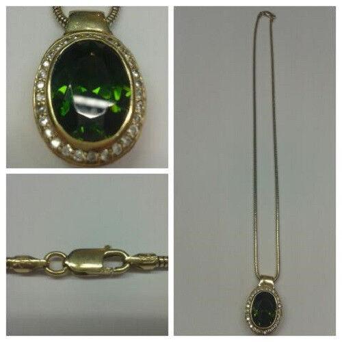 Kette 925er silver DORATO 42 cm con ciondolo con green pietre