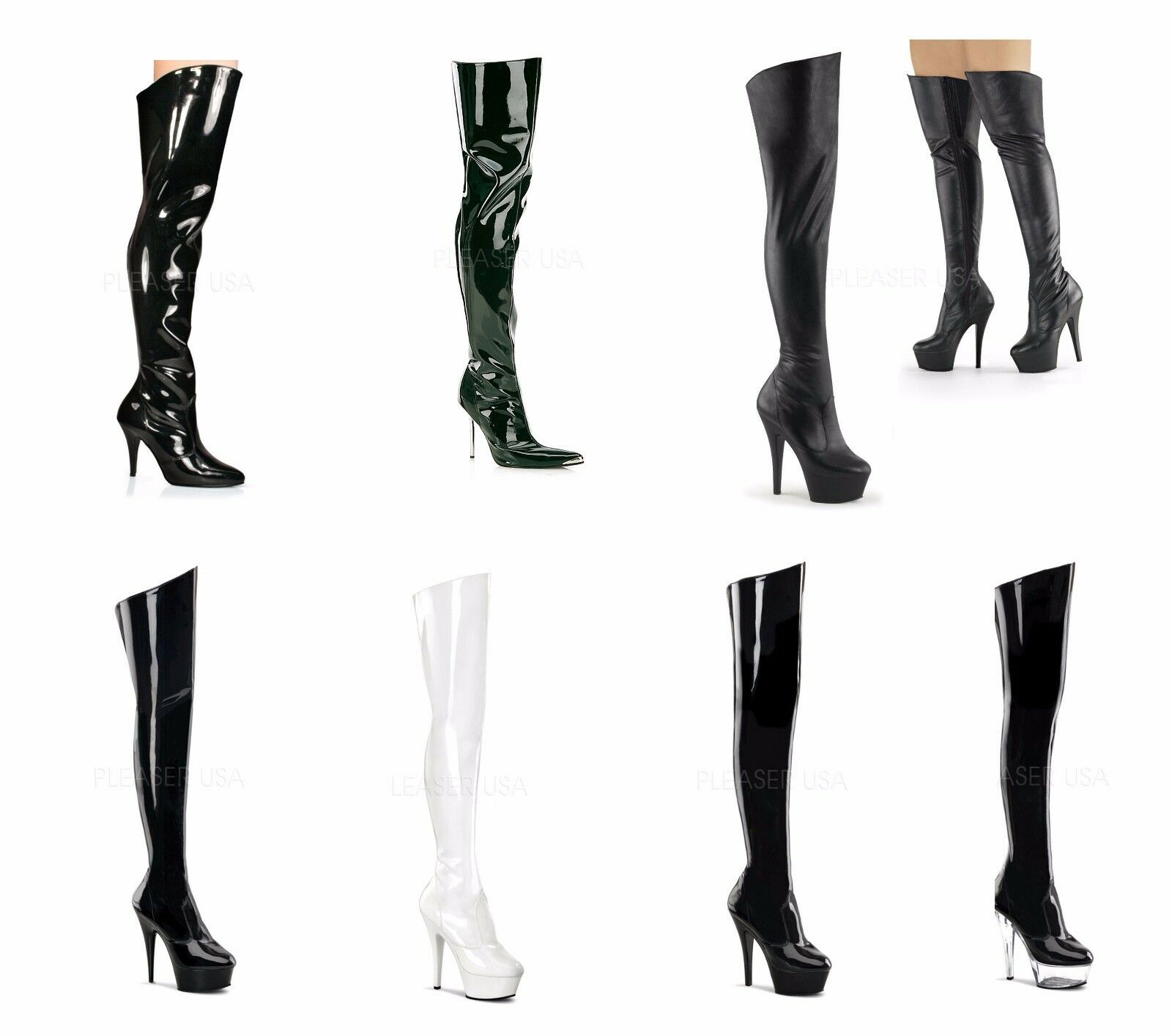 PLEASER DELIGHT KISS HEAT VANITY 3010 Sexy Thigh High Boots