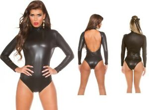 sexy-Wetlook-Langarm-Body-Body-Gr-S-M-L-XL-Lederoptik-Leder-Look