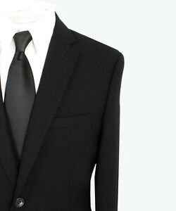 Paolo-Giardini-100-Wool-Mens-Suit-2-Button-Flat-Front-Solid-Black-SLIM-FIT-875S