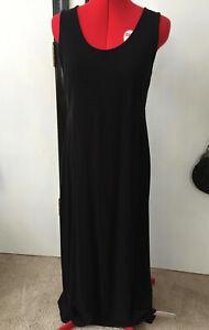 J-JILL-Dress-Womens-Large-Black-Sleeveless-Long-Maxi-Jumper-Rayon-Wool-Blend-M