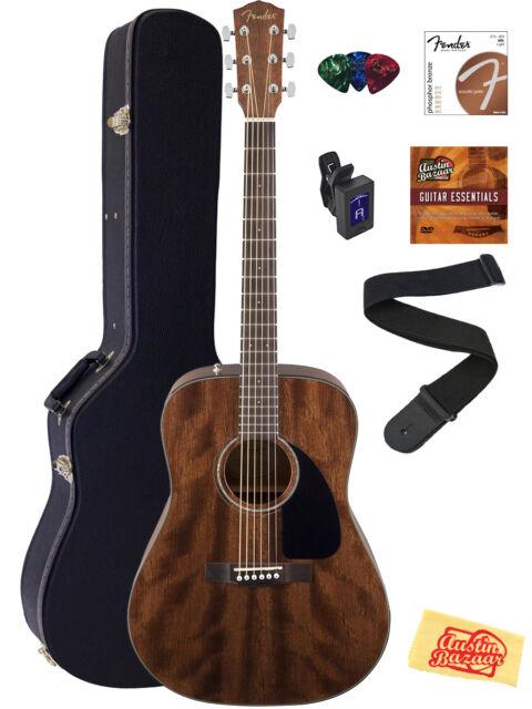 fender cd60 all mahogany acoustic guitar with hardshell case for sale online ebay. Black Bedroom Furniture Sets. Home Design Ideas