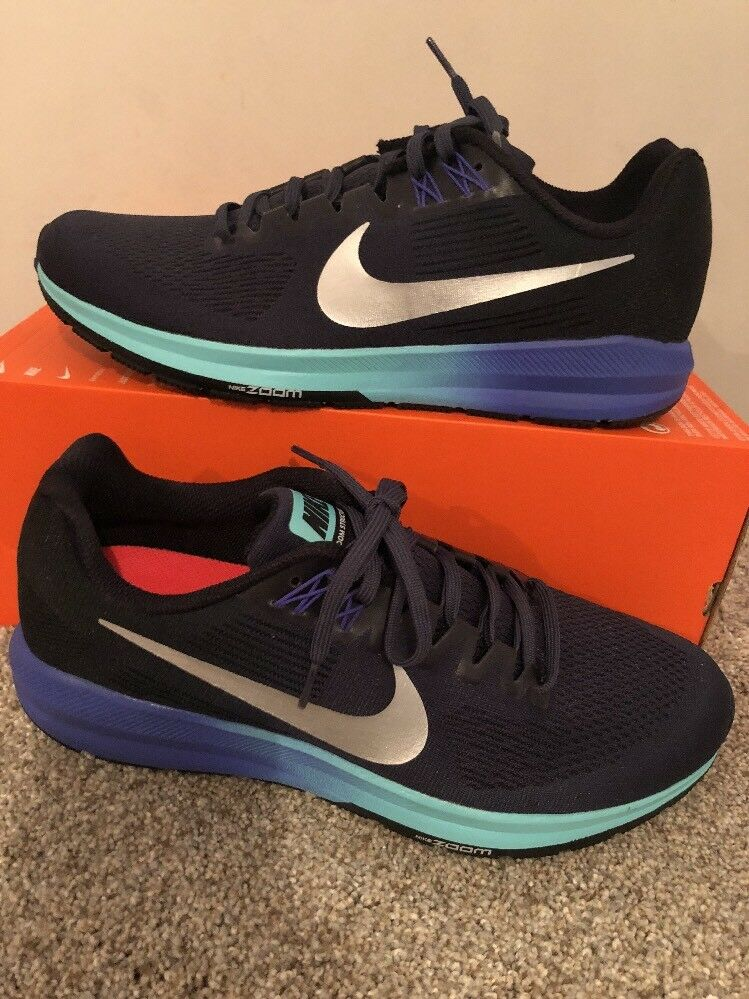 Wmns Nike Air Zoom Structure 21 Sz 12 Blue/Silver 904701-401 FREE SHIPPING